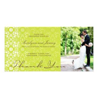 Elegant Damask Lace Lime Green Photo Thank You Card
