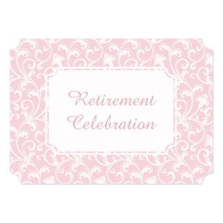 Elegant Damask Lace Swirl Retirement Party Custom Card