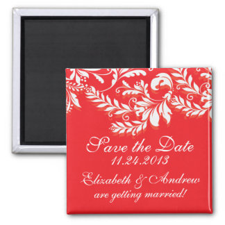Elegant Damask Leaf Swirl Save The Date Magnet