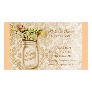 elegant damask mason jar floral country business cards