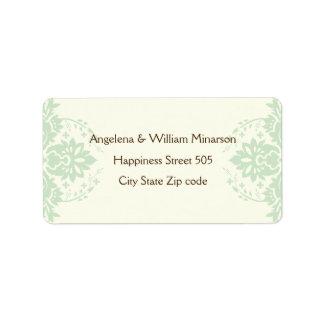 Elegant damask mint green, brown, ivory wedding label