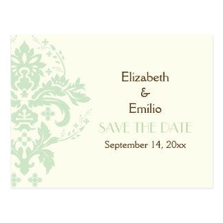 Elegant damask mint ivory wedding Save the Date Postcard