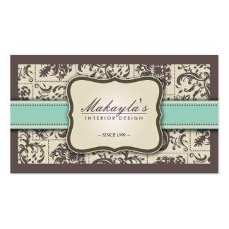 Elegant Damask Modern Brown, Green and Beige Pack Of Standard Business Cards