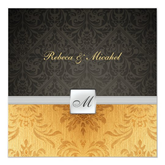 Elegant Damask Monogram black and gold Wedding Card
