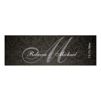 Elegant Damask Monogram Wedding Favor Tags Pack Of Skinny Business Cards