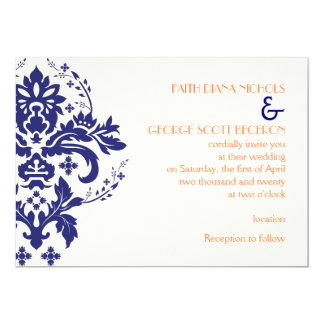 Elegant damask navy blue, coral, ivory wedding 13 cm x 18 cm invitation card
