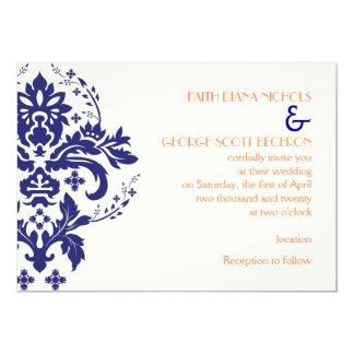 Elegant damask navy blue, coral, ivory wedding card