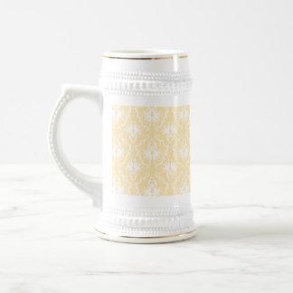 Elegant damask pattern. Light gold color. Beer Steins