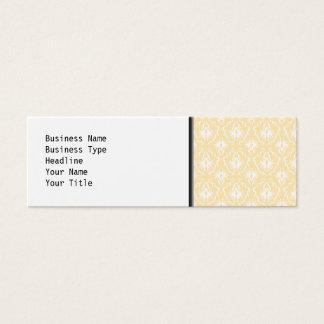 Elegant damask pattern. Light gold color. Mini Business Card