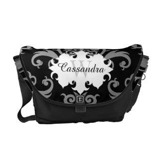Elegant damask pattern monogram messenger bags