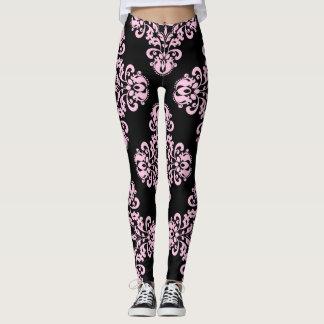 Elegant damask pattern pale pink on black leggings