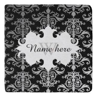 Elegant damask pattern personalized monogrammed trivets