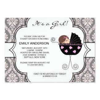 Elegant Damask Pink Black Baby Girl Shower Card