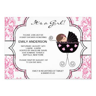 """Elegant Damask Pink Black Baby Girl Shower 5"""" X 7"""" Invitation Card"""