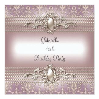 Elegant Damask Pink Cream Pearl Birthday Party 13 Cm X 13 Cm Square Invitation Card