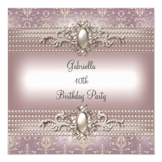 Elegant Damask Pink Cream Pearl Birthday Party 13 Cm X 13 Cm Square Invitation Card