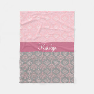 Elegant Damask Pink Gray Monogram Fleece Blanket