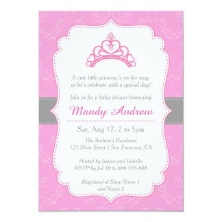 Elegant Damask, Princess Crown, Girl Baby Shower 11 Cm X 16 Cm Invitation Card