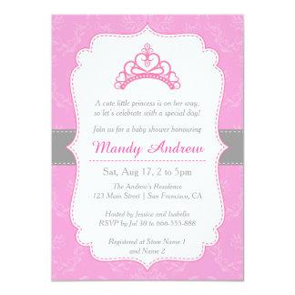 Elegant Damask, Princess Crown, Girl Baby Shower 4.5x6.25 Paper Invitation Card