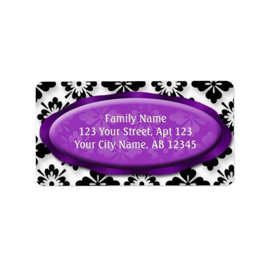 Elegant Damask Purple Address Labels
