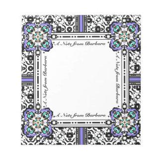 Elegant Damask Purple and Aqua Custom Name Notepads