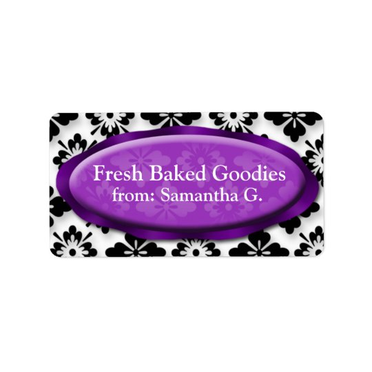 Elegant Damask Purple Baking Labels