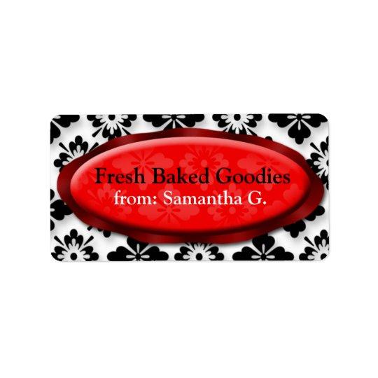 Elegant Damask Red Baking Labels