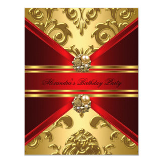 Elegant Damask Regal Red Gold Floral Birthday 11 Cm X 14 Cm Invitation Card