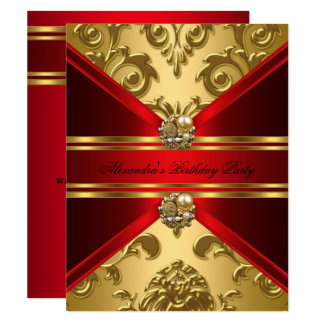 Elegant Damask Regal Red Gold Floral Birthday Card