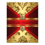 Elegant Damask Regal Red Gold Floral Birthday 11 Cm X 14 Cm Invitation Card