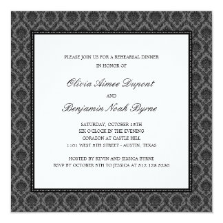 Elegant Damask Rehearsal Dinner Invitation