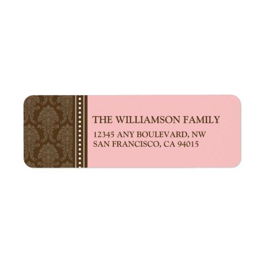 Elegant Damask Return Address Labels (pink)