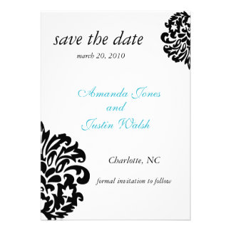 elegant damask save the date personalized invite