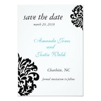 elegant damask save the date 5x7 paper invitation card