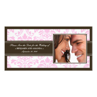 Elegant Damask Save-the-Date Photocard: pink Personalized Photo Card