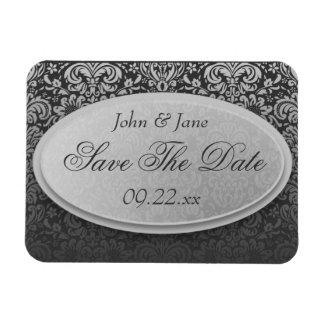 "Elegant Damask ""Save The Date"" Rectangular Photo Magnet"