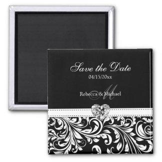 Elegant Damask 'Save the Date' Wedding Magnets