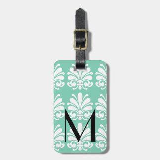 Elegant Damask Shell Flourish Personalized Luggage Tag