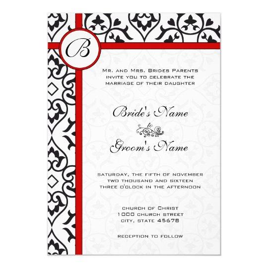 Elegant Damask Side Borders Red Trim Wedding Card