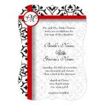Elegant Damask Side Borders Red Trim Wedding Personalised Invites