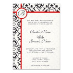 Elegant Damask Side Borders Red Trim Wedding Personalised Invite