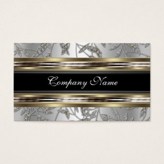 Elegant Damask Silver Pewter Chrome Metal Black Business Card