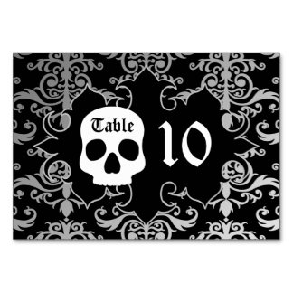 Elegant damask skull Halloween table number Table Cards