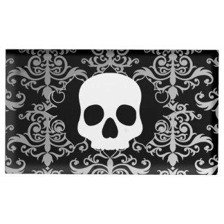 Elegant damask skull Halloween table seating Table Card Holder