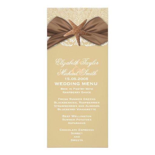 Elegant Damask Summer Starfish Wedding Menu Announcements