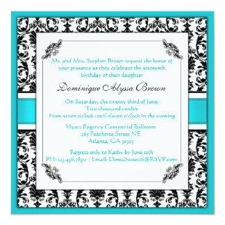 Elegant Damask Swirl Invite [Teal]