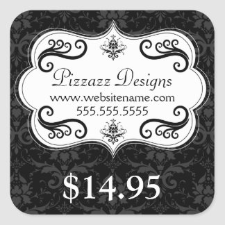 Elegant Damask Swirls Price Tag Stickers