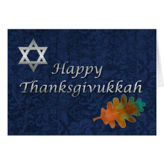 Elegant Damask Thanksgivukkah Custom Card