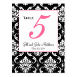 Elegant Damask Wedding Table Number Card