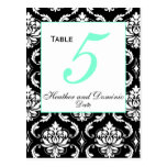 Elegant Damask Wedding Table Number Card 2